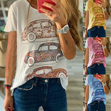 Load image into Gallery viewer, New Women's Fashion Car Print Graphic Short Sleeve Shirts Casual Solid Color T Shirts Tops