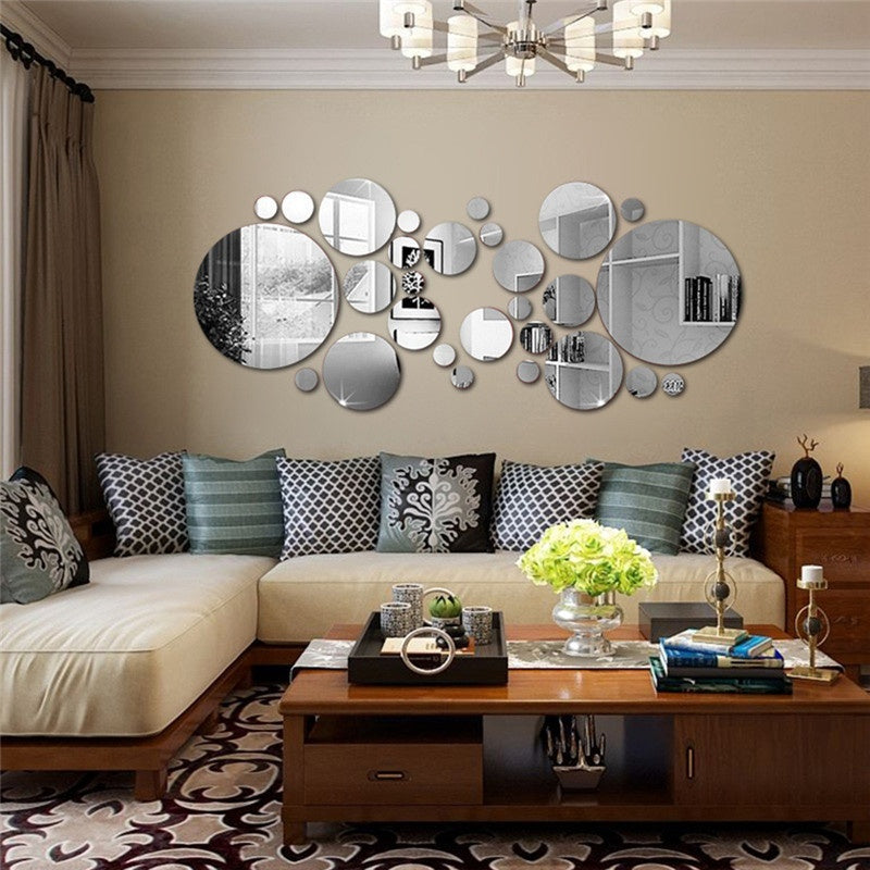 6 Colors 3D DIY Mirror Wall Stickers Stereoscopic Silver Circle Wall Stickers Wall Art Home Decor