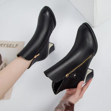 Load image into Gallery viewer, Autumn Winter Women  Martin Boots Female High Heel Thick with Side Zipper Large Size Ladies Boots