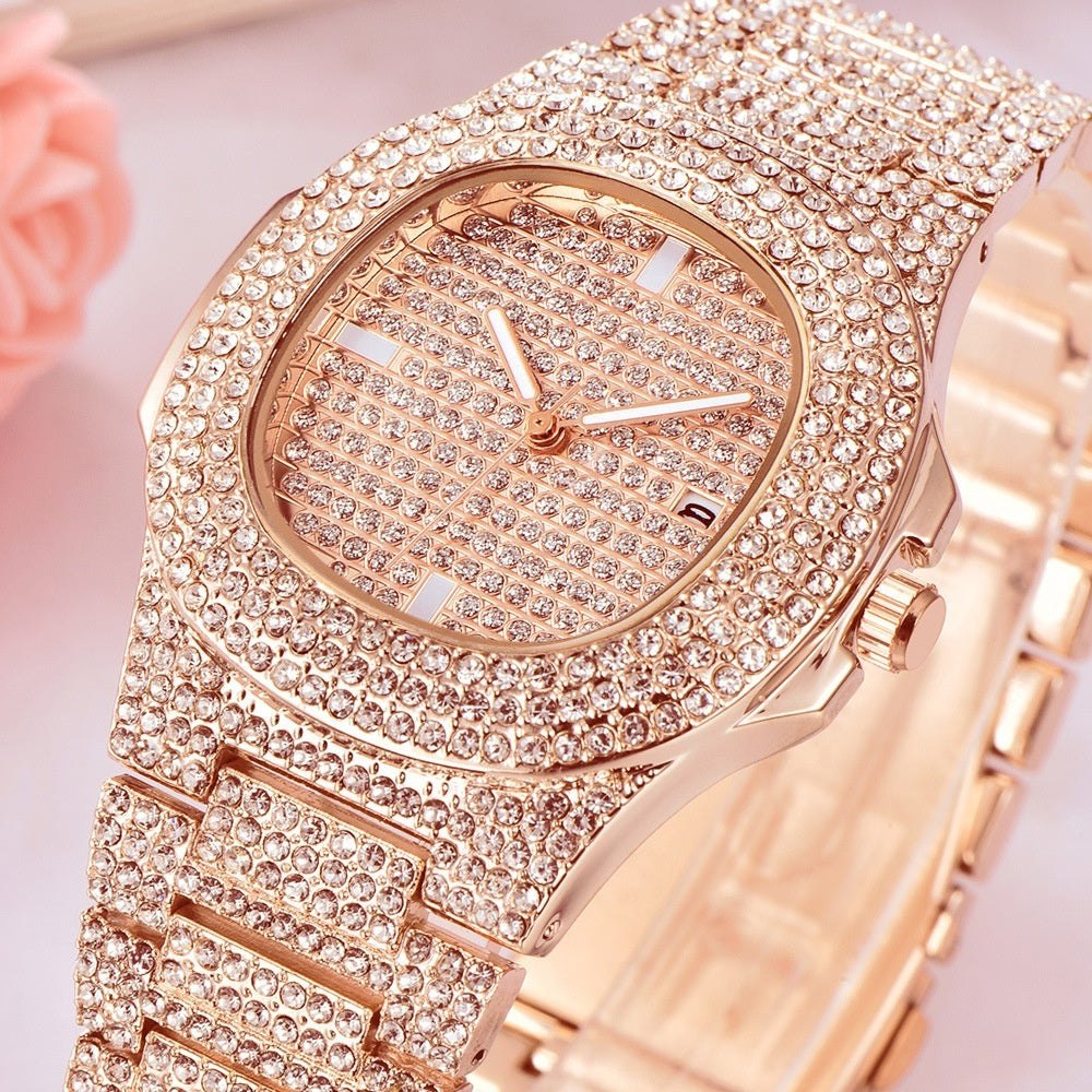 Mens Watches Diamond 14K Gold Plated Filled Watch Gold Diamond Watches Fashion Quartz Watches Relogio Masculino