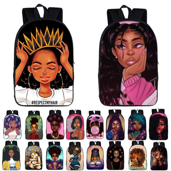Afro Princess Girl Backpack Children School Bags For Teenager School Backpack Women Book Bag