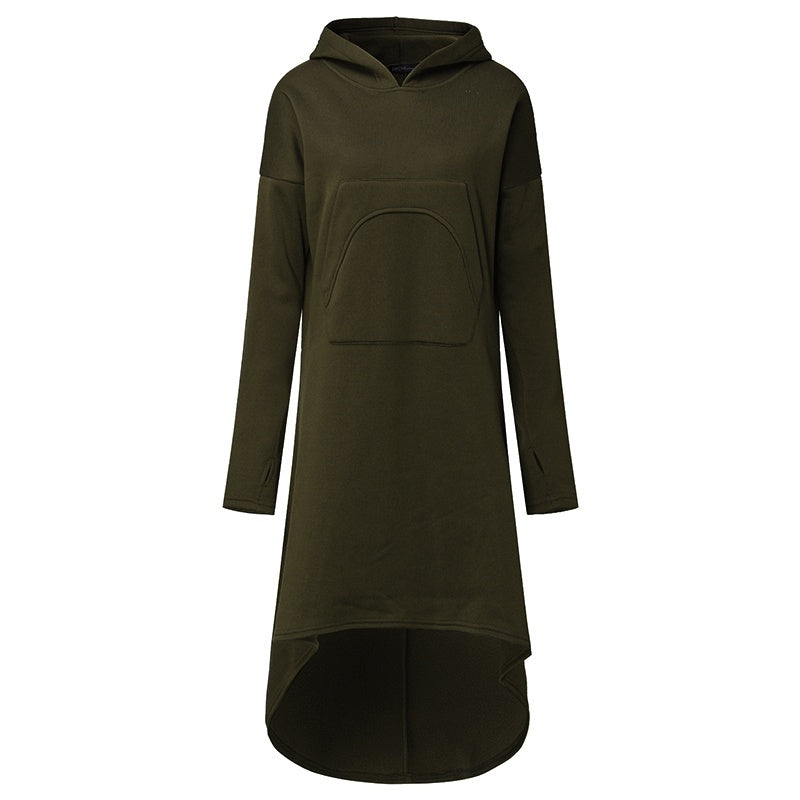 Fashion Women Oversized Hooded Long Sleeve Dress Fleece Sweatshirt Dress Midi Dresses Plus Size
