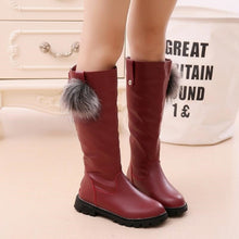 Load image into Gallery viewer, Winter Girls Shoes Knee High Boots Kid Girl Fashion Mid calf Boot Children Bow Lace Boots