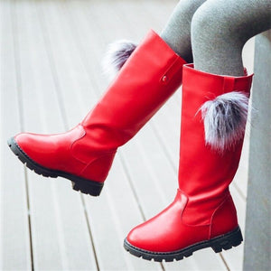 Winter Girls Shoes Knee High Boots Kid Girl Fashion Mid calf Boot Children Bow Lace Boots