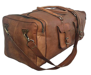 30' Inch Real Goat Vintage Leather Large Handmade Travel Luggage Bags in Square Big Large Brown bag Carry On (30 inch)