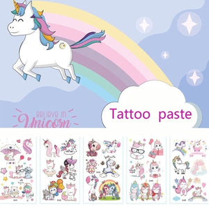 10Pcs/Set Waterproof Temporary Unicorn Tattoos Paste Body Art Water Transfer Fake Tattoos Party Supplies For Children Adult Special