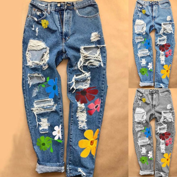 New Women's Fashion Denim Floral Casual Ripped Pants Jeans