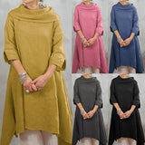 S-5XL Autumn Fashion Women 3/4 Sleeve High Neck Vintage Irregular Hem Kaftan Shirt Dress Casual Pullover Jumper Dresses