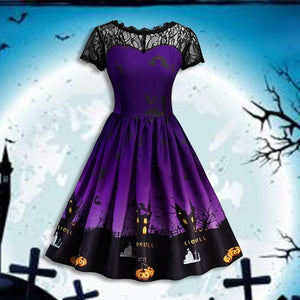 Women Fashion Sexy Vintage Lace Stitching Halloween Dress Elegant Short Sleeve Printed Pumpkin Party Dress Halloween Costume