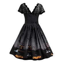 Load image into Gallery viewer, Women Fashion Sexy Vintage Lace Stitching Halloween Dress Elegant Short Sleeve Printed Pumpkin Party Dress Halloween Costume