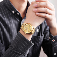 Load image into Gallery viewer, SKMEI Brand Luxury Golden Dragon Quartz Watch Men Watches Waterproof Chinese Style Stainless Steel Men Wristwatches