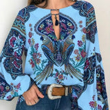 4 Color Women's Bohemian Style Lantern Sleeves Large Size Shirt Shirt Retro Floral Print Shirt Ladies Shirt Casual Large Size XS-5XL