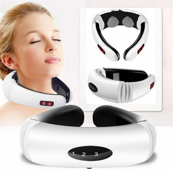 Neck and back massager with electric pulse far infrared heating pain relief relaxation tool health smart neck massager