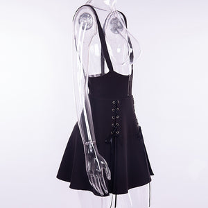 Woman Black  Goth Sexy Lace Bodysuit Rompers A Line Dress Suspender Lace Up See Through Club Wear Shirt or Dress