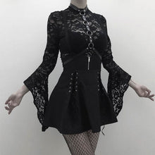 Load image into Gallery viewer, Woman Black  Goth Sexy Lace Bodysuit Rompers A Line Dress Suspender Lace Up See Through Club Wear Shirt or Dress