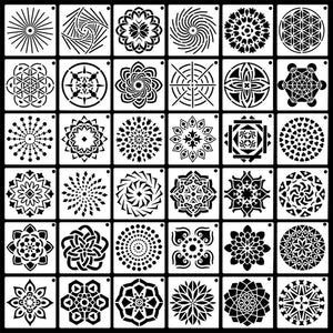 36 Pack Mandala Dot Painting Templates Stencils Perfect For Diy Rock Painting Art Projects (3.5X3.5Inch)