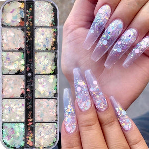 1 Case Holographic Nail Art Paillettes Unicorn Mermaid Nail Sequins Mixed Shaped Star Moon Nail Paillette DIY Heart Flower Triangle Clear Nail Art Glitter Salon Tip Manicure Decoration