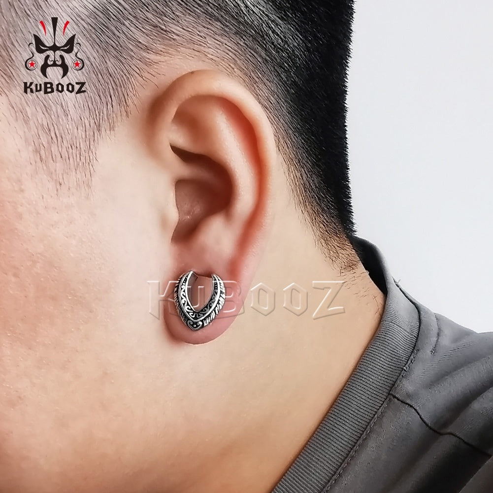 KUUBOZ Fashion Drop Notch Retro Design Ear Gauges and Ear Tunnels Body Piercing Jewelry Ear Plugs 2pcs