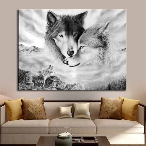 Frameless Wild Animals Wall Art Black and White Wolf Canvas Painting Animal Wolf Poster for Living Room Home Decor