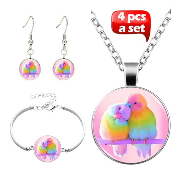 Lovebirds Glass Cabochon Necklace & Earrings & Bangle Set(Totally 4 Pcs) Necklace & Earrings & Bangle   Ring (Totally 5 Pcs) Women's Jewelry