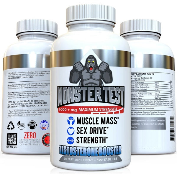 Monster Test Men's Test Booster by Angry Supplements, Increase Muscle Mass, Strength & Sex Drive, 120ct/Bottle