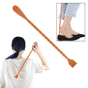 1Pcs 2 in 1  Back Scratcher Shoehorn Multifunctional Long Handled Shoe Horn with Hand Shaped Backscratcher