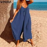 VONDA Plus Size Women's Fashion Sleeveless Casual Straps Wide Leg Overalls Jumpsuits