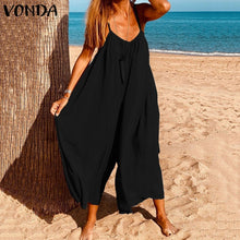 Load image into Gallery viewer, VONDA Plus Size Women's Fashion Sleeveless Casual Straps Wide Leg Overalls Jumpsuits