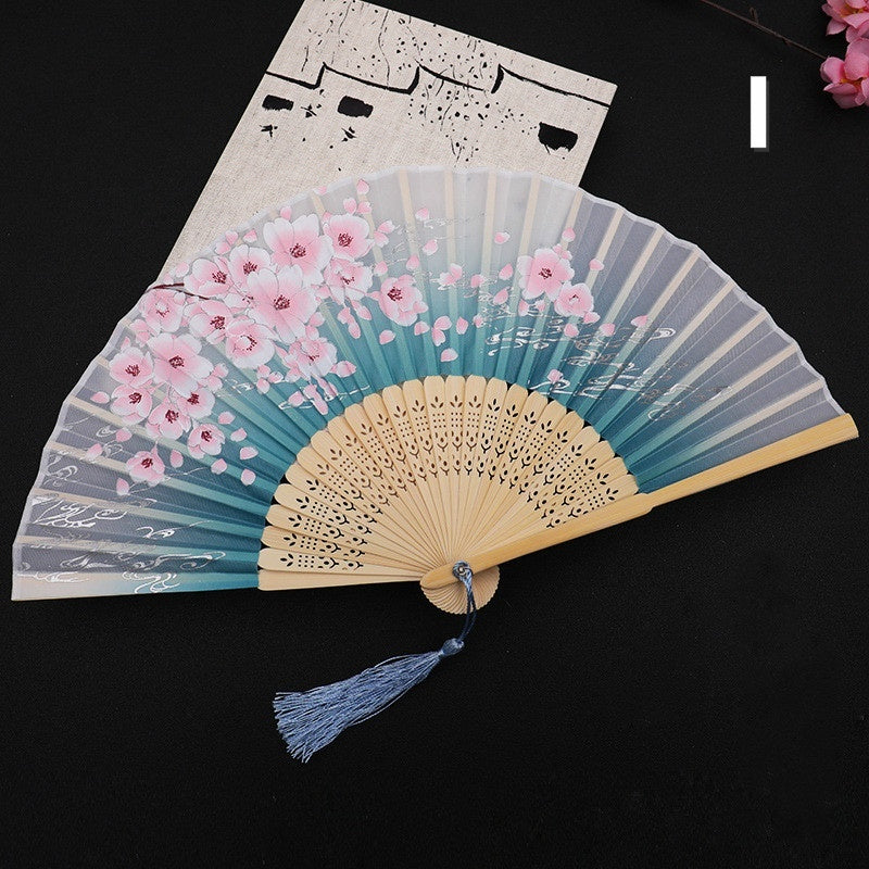 10Styles Japanese Vintage Bamboo Folding Hand Fan Flower Printing Dance Fan Party Pocket Gifts Summer Fashion Accessories