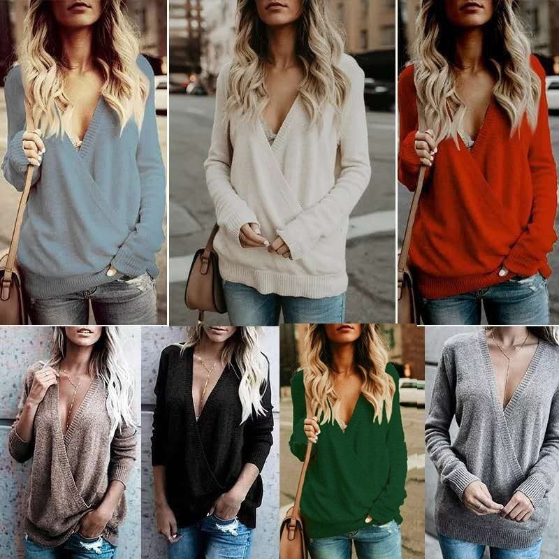 2018 New Women's Autumn and Winter Sweater Deep V Neck Velveteen Knit Sweater