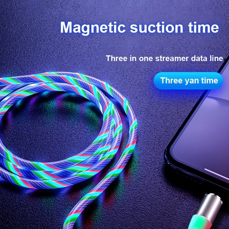 4 Colors Rainbow Fluid Led Light Magnetic Charger Cable Flowing 2.4A Fast Charging Magnet Micro USB Type C Lightning Cable For iPhone Samsung OPPO VIVO Huawei LED Magnetic Wire Cord