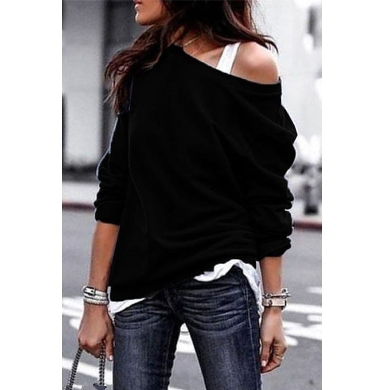 Long Sleeve Women T Shirt Pullover Casual Loose Shirt Top Solid Color Tops Autumn Sweatshirt