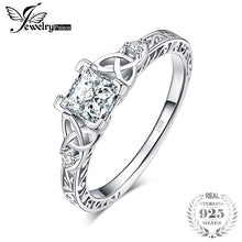 Load image into Gallery viewer, Women's JewelryPalace Vintage Celtic Knot Princess Cut 1.2ct Cubic Zirconia Solitaire Engagement Ring 925 Sterling Silver Bride Wedding Ring size 4-12