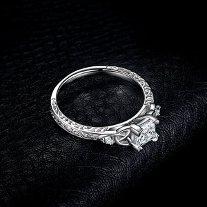 Women's JewelryPalace Vintage Celtic Knot Princess Cut 1.2ct Cubic Zirconia Solitaire Engagement Ring 925 Sterling Silver Bride Wedding Ring size 4-12