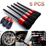 5pcs Car Cleaning Tool Set Detail Brush Kit Boar Hair Car Detailing Brushes for Automotive Interior Rims Dashboard Wheel Air Vent