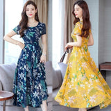 Women Summer Dress Sexy Bohemian Style Flower Printing Short Sleeve Round Collar Long A-line Dress Female Clothes