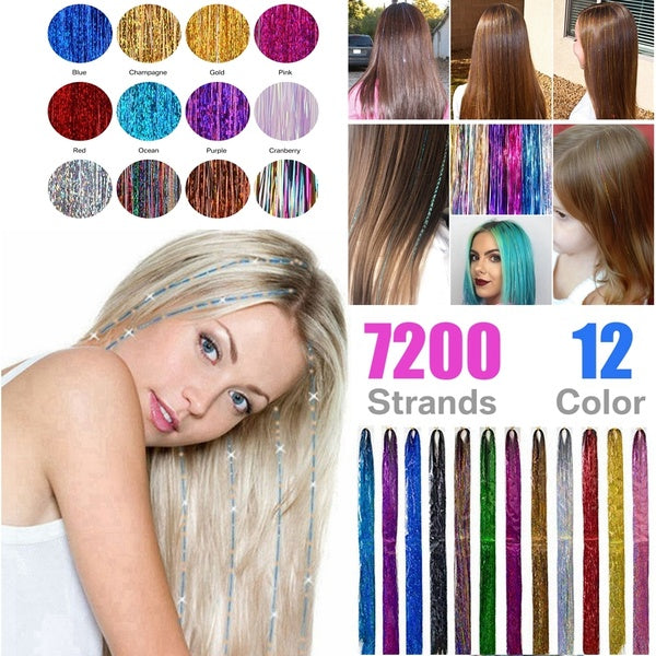 48'' 12 Colors 7200 Strands Hair Tinsel Extensions Sparkling Shiny Colored Bling String Hair Extensions Multi-Colored Party Highlights Glitter Hair pieces Extensions