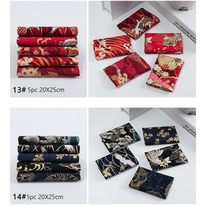 Japanese Bronze Cotton Printed Patchwork Fabric Quilting Material for Sewing Dolls and Bags Needlework Accessories 20X25cm/PC
