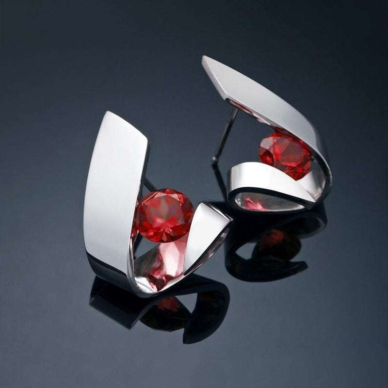 925 Sterling Silver Ruby Ear Studs Garnet Gemstone Earrings