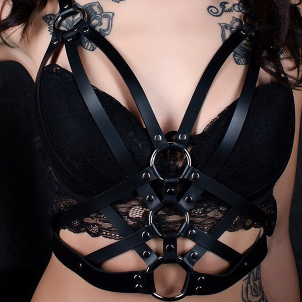 Women Sexy Leather Metal Rings Body Harness Restraint Fetish Fantasy Bra Strap