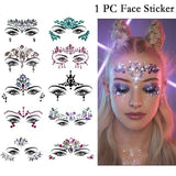 1 PC Women's Charm Face Crystal Sticker Personality Head Body Decoration