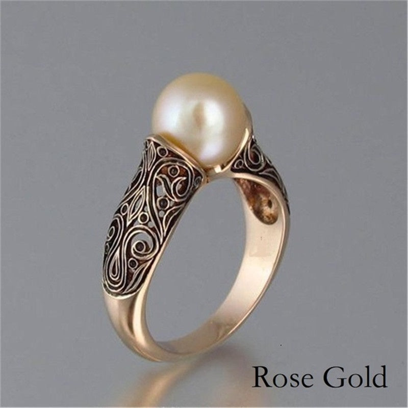 Fashion Vintage Ring Sculpted Antique Gold Pearl Bride Wedding Engagement Rings