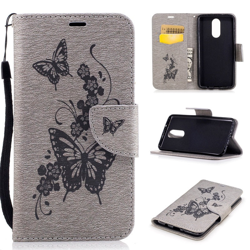 For LG Stylo 5 Case , Butterfly Flower Painted Leather Wallet Case Phone Pouch Flip Cover for LG Stylo 4 / Stylo 5 / Aristo 3 / Phoenix 4 / Rebel 4 LTE / Tribute Empire