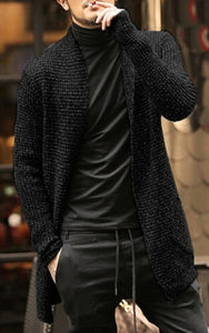 Men Autumn and Winter Casual Thick Warm Mohair Coat Males Long Sleeve Overcoat Knitted Cardigan Sweater Outerwear
