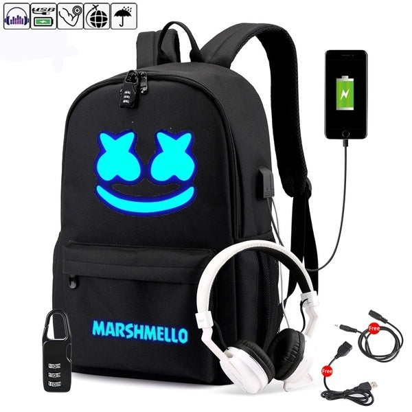 Canvas Waterproof USB Anti-theft Laptop DJ Backpack Men Student School Backpack Teen Girl Boy Schoolbag