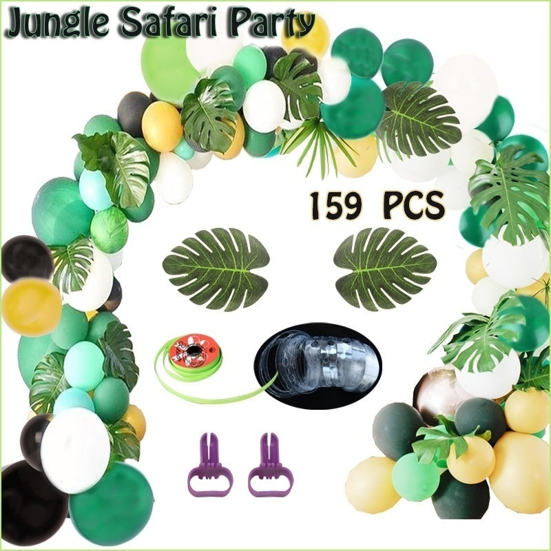 159Pcs Jungle Safari Tropical Theme Party Balloon Arch Forest Latex Ballon Garland Set for Baby Shower Birthday Zoo Hawaiian Party Decor