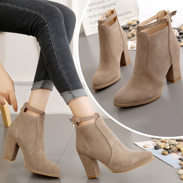 Women Fashion Autumn and Winter Thick with High Heels Boots Wild after Zipper Large Size Ladies Martin Boots British Style