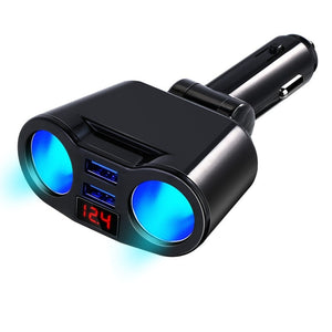 New Cigarette Lighter Car Charger Dual USB Interface Car Display 12-24V Multifunction Car Charger