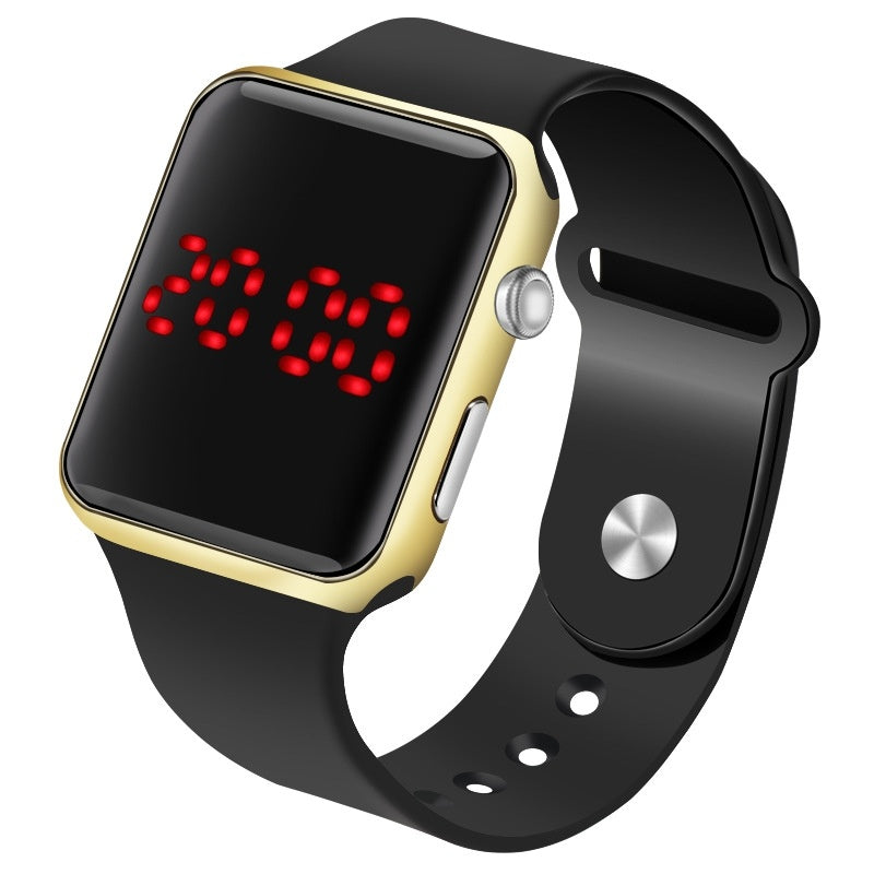 Fashion New Square Mirror Face Silicone Band Digital Watch Red LED Watches Metal Frame WristWatch Sport Clock Hours