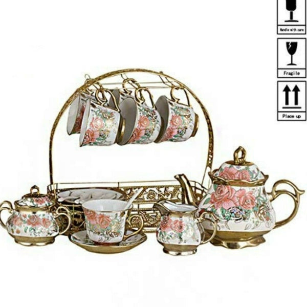 European Ceramic Coffee Set Complete Set of Afternoon Tea Set Electroplated Coffee Cup Plate Set of Flower Teapot Wedding Gift